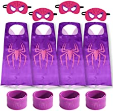 Gream baby Superhero Capes with Masks and Slap Bracelets Party Dress up for Kids (Purple 4 Sets)