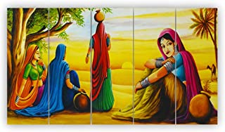 Alura Art N Frames Set Of 5 Synthetic Rajasthani Art Modern Art 5D Self Adeshive Uv Coated Painting For Wall For Home Déco...