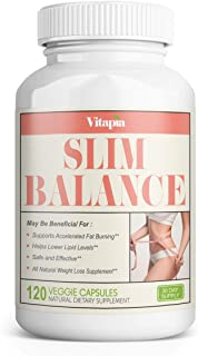 Vitapia Slim Balance Fat Burner - Weight Loss Supplements for Women and Men, Helps Support Healthy Glucose Metabolism - 120 Natural Veggie Pills