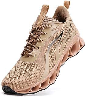 Wanhee Men's Athletic Walking Shoes Mesh Blade Slip on Running Sneakers Brown