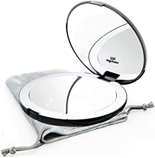 Magnifying Compact Mirror for Purses with LED Ring Light Up – Black Double Sided Lighted Makeup Mirror with Magnification ...