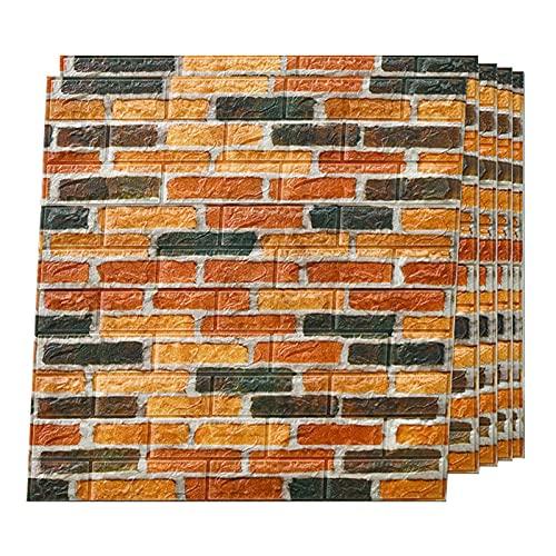 3D Imitation Brick Wall Sticker DIY Waterproof Self-Adhesive Decorative Wallpaper,PE Foam Waterproof Quick Easy Assembly Children's Bedroom Living Room Bedroom,77x70cm(Color:E,Size:10 pieces)