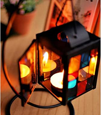 Small Tealight Candle Holder Tabletop Decorative Lantern with Stand, Mulit Color Glass Iron Lovely Little Mosaic Tea Light Ca