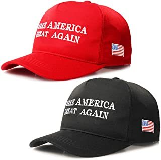 2 Packs Make America Great Again Hat Donald Trump Slogan MAGA with USA Flag Cap Adjustable Baseball Hat