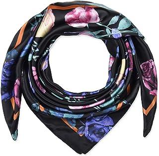 35 بوصة المرأة مربع الحرير يشعر الأوشحة وشاح الرأس للنوم الأسود الزهور الملونة