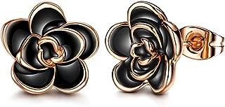 18K Gold Plated Black Rose Flower Stud Earrings for Women