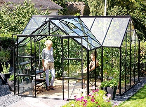 Vitavia sirius serre orangerie de sécurité trempé 3 mm noir, surface : env. 13 m² fenêtre avec structure en 4, 6 cm de haut (socle : 3,81 x 3,81 m