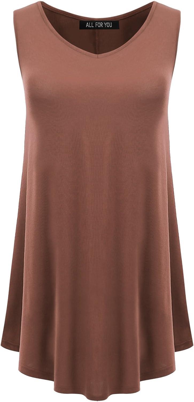 AMORE ALLFY Women's Sleeveless Round Hem V-Neck Tunic Top