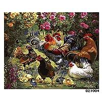デジタル インテリア キャンバスの油絵子供 デジタル油絵 数字キッ アートグラフィティ装飾カスタムギフト 40x50センチ フレームレスおんどり家族