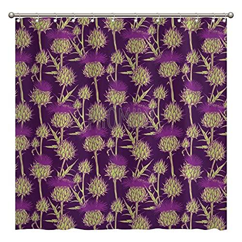 Promini Duschvorhang mit grafischem Hintergr& mit bunten Farben, waschbarer Duschvorhang mit Haken, 180 x 180 cm, Polyester