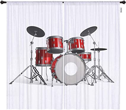 Erosebridal Drum Kit Curtain Classical Rock Music Blackout Window Curtains Musical Instrument Window Drapes Red Black Window Treatments for Kids Youth Teen Boys Childs Dorm Room Decoration 38x45
