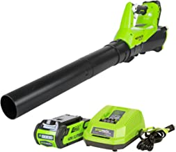 Greenworks 40V Electric Leaf Blower, 430 CFM / 115 MPH, 2.0Ah Battery and Charger Included BA40L210