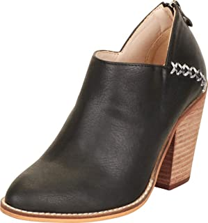 Cambridge Select Women's Pointed Toe Western Whipstitch Stacked Chunky Block Heel Shootie Ankle Bootie
