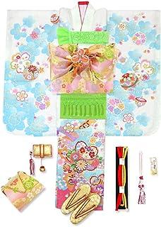 七五三 7歳 着物 フルセット 正絹 絵羽柄の子供着物 結び帯セット 選べる帯「白地 桜に鞠」MG-AY-set