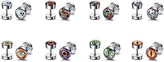JOVIVI 10-48pcs Lot Assorted Stainless Steel Fake Ear Plugs Set Screw Stud Earrings, 0G Gauges Look
