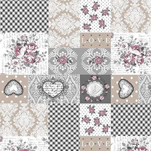 Tela de loneta estampada digital - Retal de 100 cm largo x 280 cm ancho | Cuadros con corazones y rosas, color gris ─ 1 metro