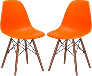 Poly and Bark Vortex Modern Mid-Century Side Chair with Wooden Walnut Legs for Kitchen, Living Room and Dining Room, Orange (Set of 2)