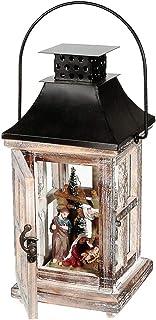 IH CASADECOR Wood and Metal Square Lantern with Led Carolers Figurine, Multi