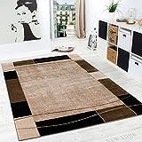 Alfombra De Diseño para Sala De Estar Alfombra con Bordura Moderna Marrón Beige, tamaño:190x280 cm