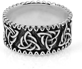 خاتم SUVANI 925 من الفضة الاسترلينية المؤكسدة ثلاثية ثلاثية العجلات سلتيك عقدة باند للجنسين مجوهرات الرجال مقاس 9