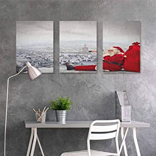 HOMEDD Art Original Oil Painting Sticker,Christmas Santa Claus Sitting on Roof Top Looking Through Binoculars Cloudy Cityscape,On Canvas Abstract Artwork 3 Panels,24x47inchx3pcs Red Pale Grey