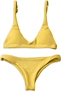 5c56f2285dd21 ZAFUL Women Padded Scoop Neck 2 Pieces Push Up Swimsuit Revealing Thong Bikinis  V Bottom Style