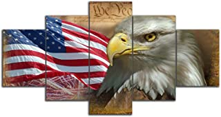 Yetaryy 5 Pieces/Set Large American Flag Canvas Wall Art USA US Retro Bald Eagle Wall Decor Wall Art Hook Living Room Office Modern Poster Painting Pictures Gallery Frame Ready to Hang(50''W x 24''H)