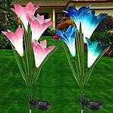 Mitening Lampara Solar Flores, 2 PCS Solares Flores de Lirio, LED para Hadas Lámparas, 8 Luces Solares de Lirio 7 Multi Color Cambiante, Adornos Decoración para Jardín, Patio, Decoración
