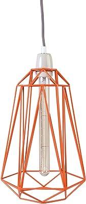 Filament Style Filament 013P Loft stile retrò francese lampadina Diamond # 5con cavo in tessuto in grigio in metallo E27, 39x 21cm, colore: arancione