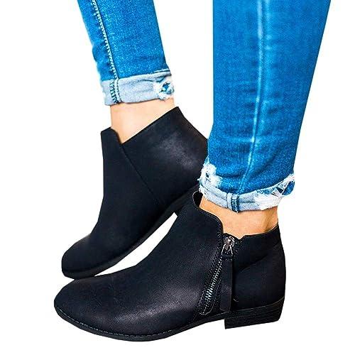 Botines Mujer Tacon Medio Planos Invierno Tacon Ancho Ante Piel Botas Botita Planas 2.5cm Casual Ankle Boots Suede Zapatos Caqui Beige Negros 35-43 BK38