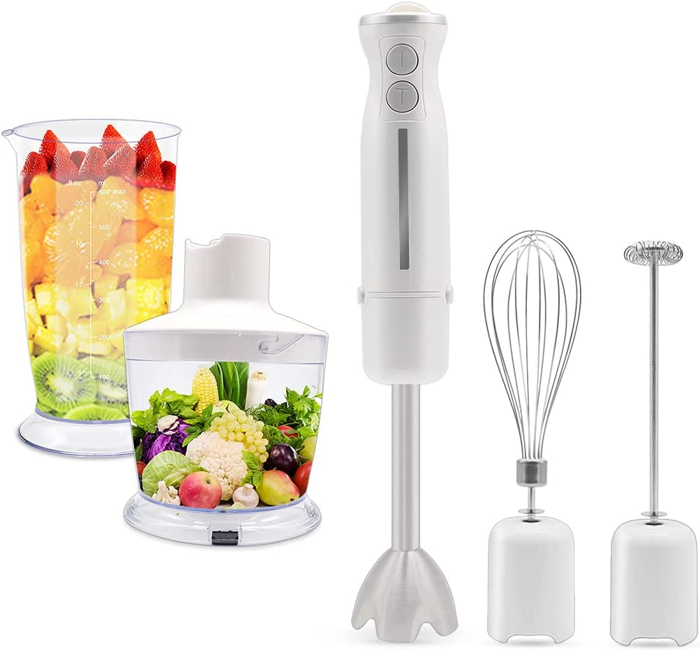 PHIAKLE Hand Blender, 12 Speed and Turbo Mode Smart Stick, 4-in-1, Titanium Steel Blades, Comfygrip Handle, with Whisk, Chopper/Grinder Bowl and Beaker/Measuring Cup