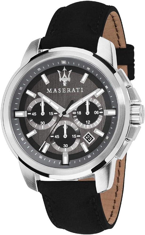 Maserati orologio da uomo, collezione successo,cronografo, in acciaio e cuoio 8033288792369