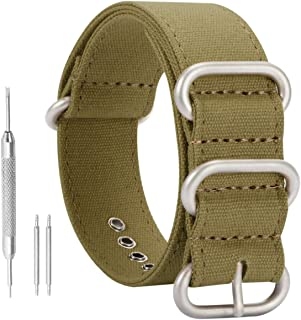 NATO Watch Band High-end Superior Canvas Strap Sturdy Sport Replacement for Men in Black/Blue/Army Green/Khaki Width - 18mm, 20mm, 22mm, 24mm, 26mm