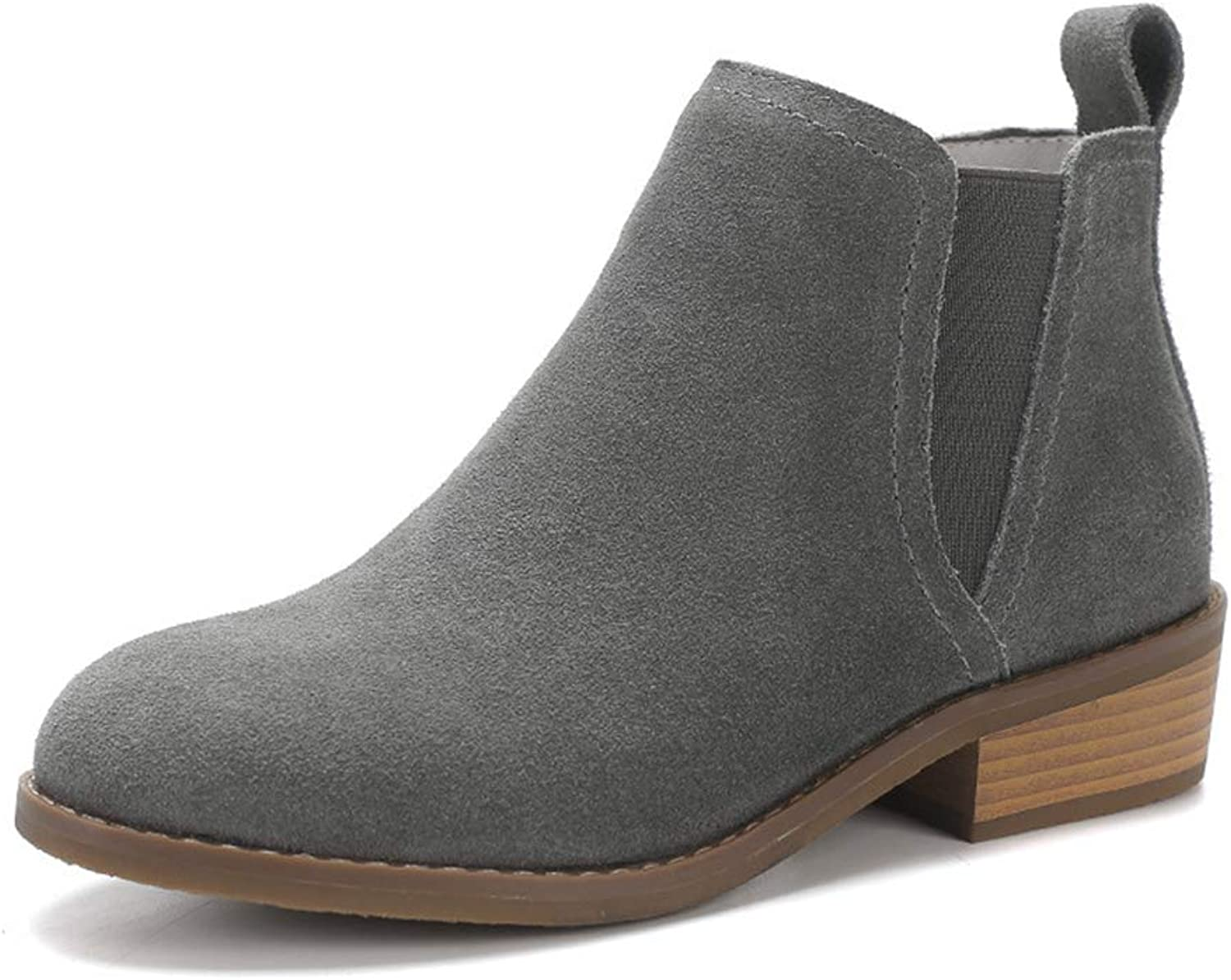 Women Winter Block Low Heels Ankle Boots Simple Vintage Flat with Round Toe Chelsea Booties