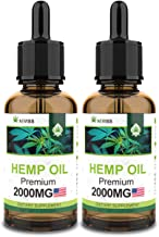 (2 Pack) Hemp Oil 4000mg for Pain Relief, Stress & Anxiety Relief, Improve Sleep - Organic Hemp Extract, 100% Natural Vegan Hemp Oil Extract - Made in USA