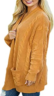 Women Cable Knit Open Front Sweater Cardigan Jacket Casual Outerwear