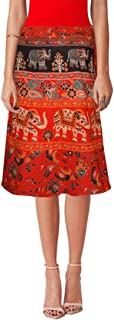 Women's Cotton Printed Knee Length Regular Wrap Around Skirt (NTOW24_0054; Orange; Free Size)