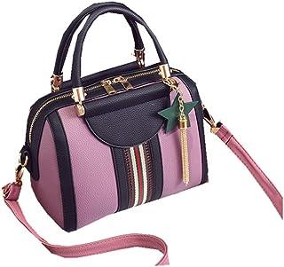 FTSUCQ Womens Vogue Striped Printed Shoulder Handbags Casual Boston Bag Hobos Satchels Purse