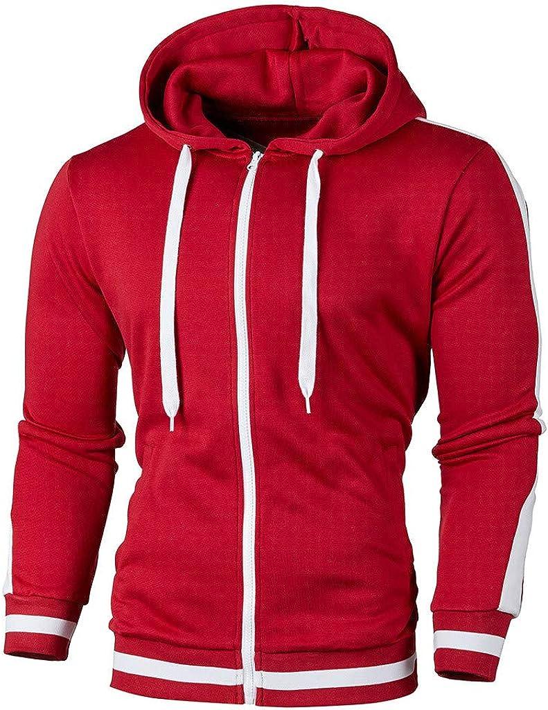 Gergeos Men Autumn Hooded Sweatshirt Solid Color Long Sleeve Hoodie Casual Outwear Jacket M-XXXL
