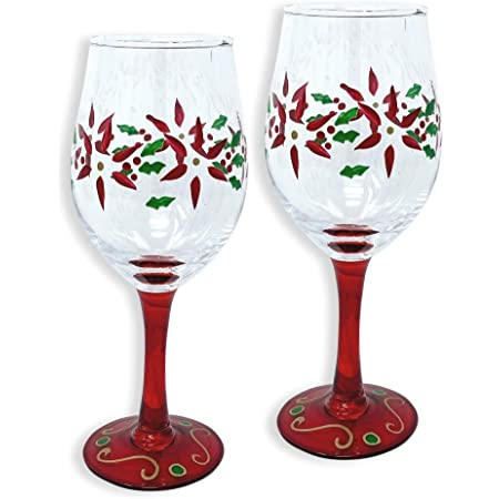 WINE GLASSES STEMLESS-HOLIDAY POINSETTIA HAND PAINTED BEAUTIFULLY DECORATED!!