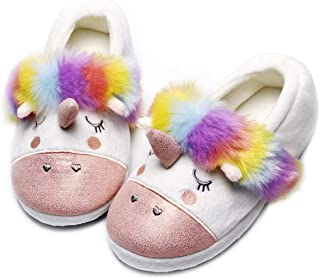 Kids Cute Unicorn Slippers Colorful Animal Slip on House Shoes