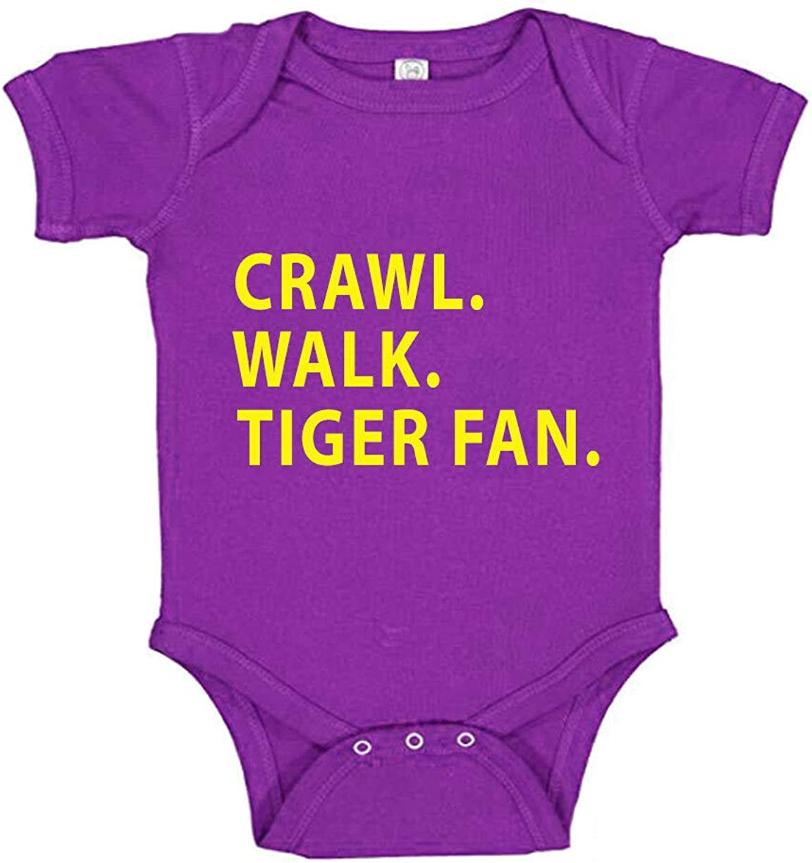 Southern Sisters Crawl Walk Tiger Fan and Free shipping anywhere in the nation Inventory cleanup selling sale Purple Baby Romper in