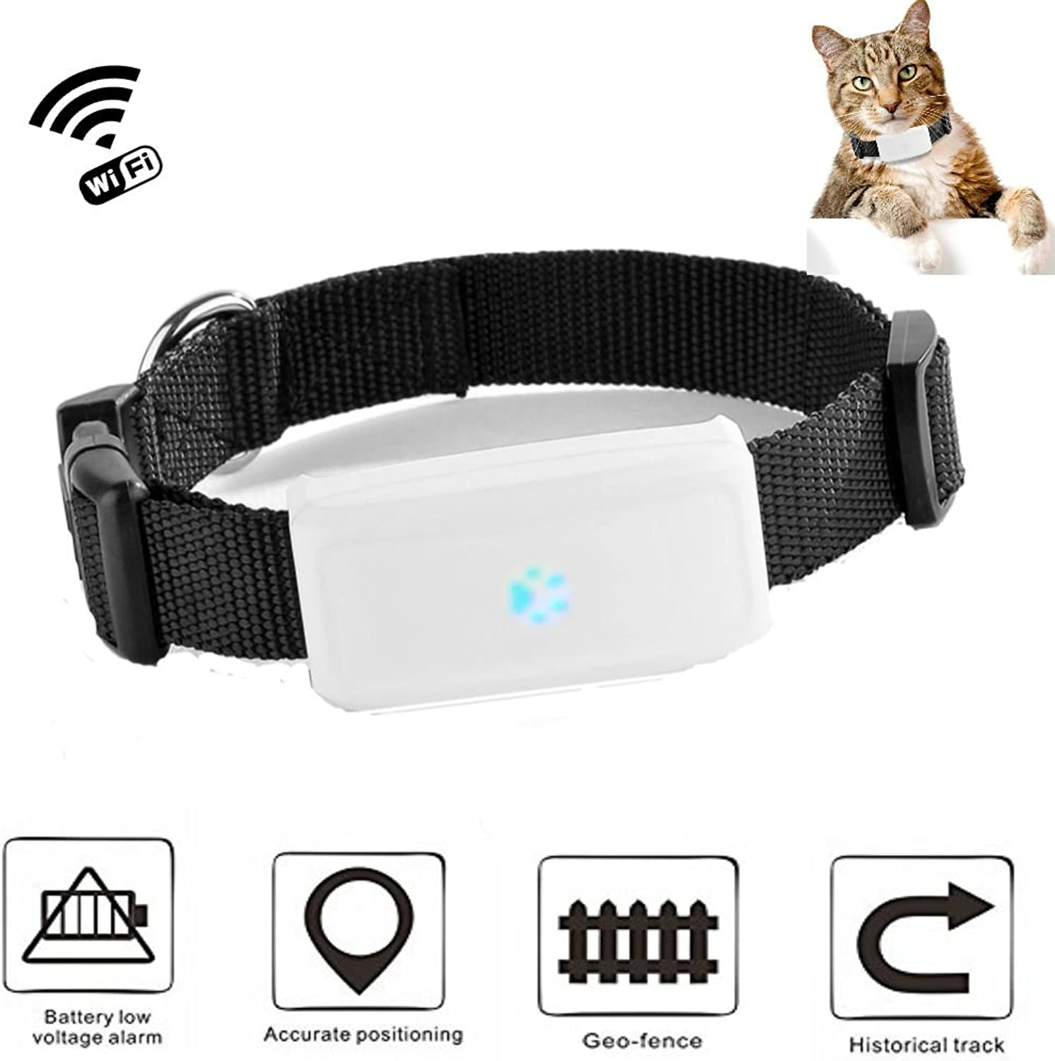 GPS Tracker Pet Tracking Device Dog Cat Locator with Cute Collar Real Time Tracking Platform and APP TK911