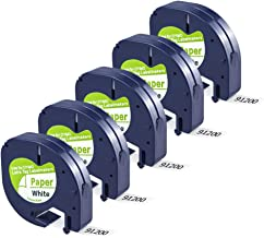 Replace Dymo LetraTag Refills 91330 10697 (S0721510) LT Label Tape, Black on White Self-Adhesive Paper Tape for DYMO LetraTag LT-100T LT-100H QX50 Label Maker, 1/2 Inch x 13 feet, 12mm x 4m, 5 Pack