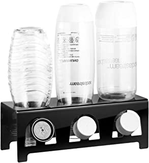 ecooe Ociekacz ze szkła akrylowego, stojak do ociekania np. SodaStream i Emil, miejsce na 3 butelki i 3 pokrywki / akcesor...