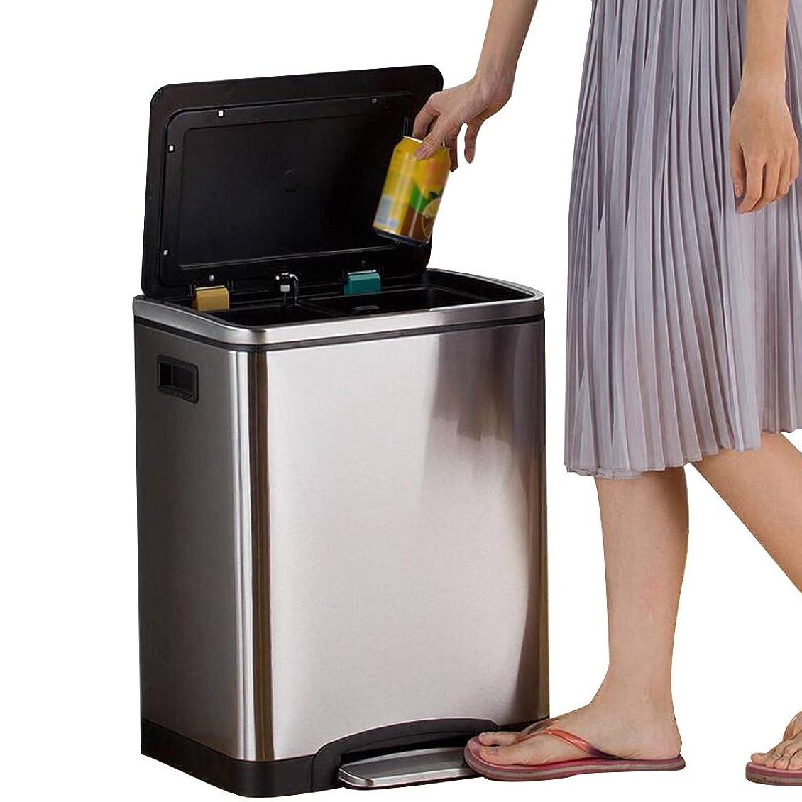 満了みすぼらしいバックHOHO 内部分類された大箱が付いているごみ箱のゴミ箱、ふたが付いている浴室の大箱、2つの取り外し可能な内部のバケツが付いているステンレス製の屑の不用なゴミ箱