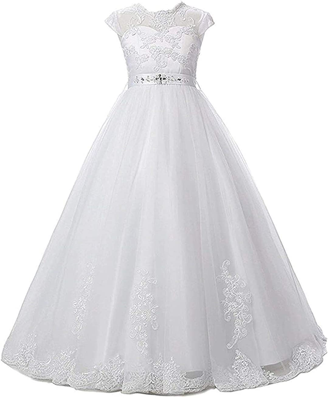 Magicdress White First Communion Baptism Dresses for Girls 20 20 Lace  Princess Flower Girls Gown 20