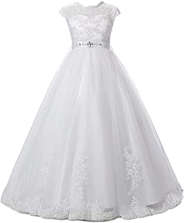 Magicdress White First Communion Baptism Dresses for Girls 7-16 Lace Princess Flower Girls Gown 10