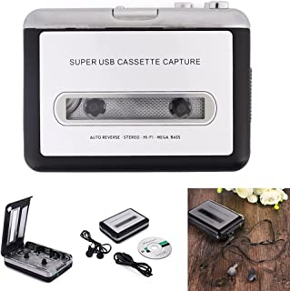 Ccoco Cassette Player Portable Tape Player Captures MP3 Audio Music via USB for Laptops Personal Computers