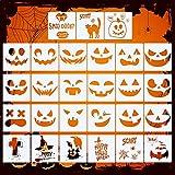 27 Pieces Halloween Drawing Stencils, Pumpkin Faces Stencil Reusable Plastic Painting Pumpkin Expression Templates for DIY Pumpkin Carving Craft for Kids